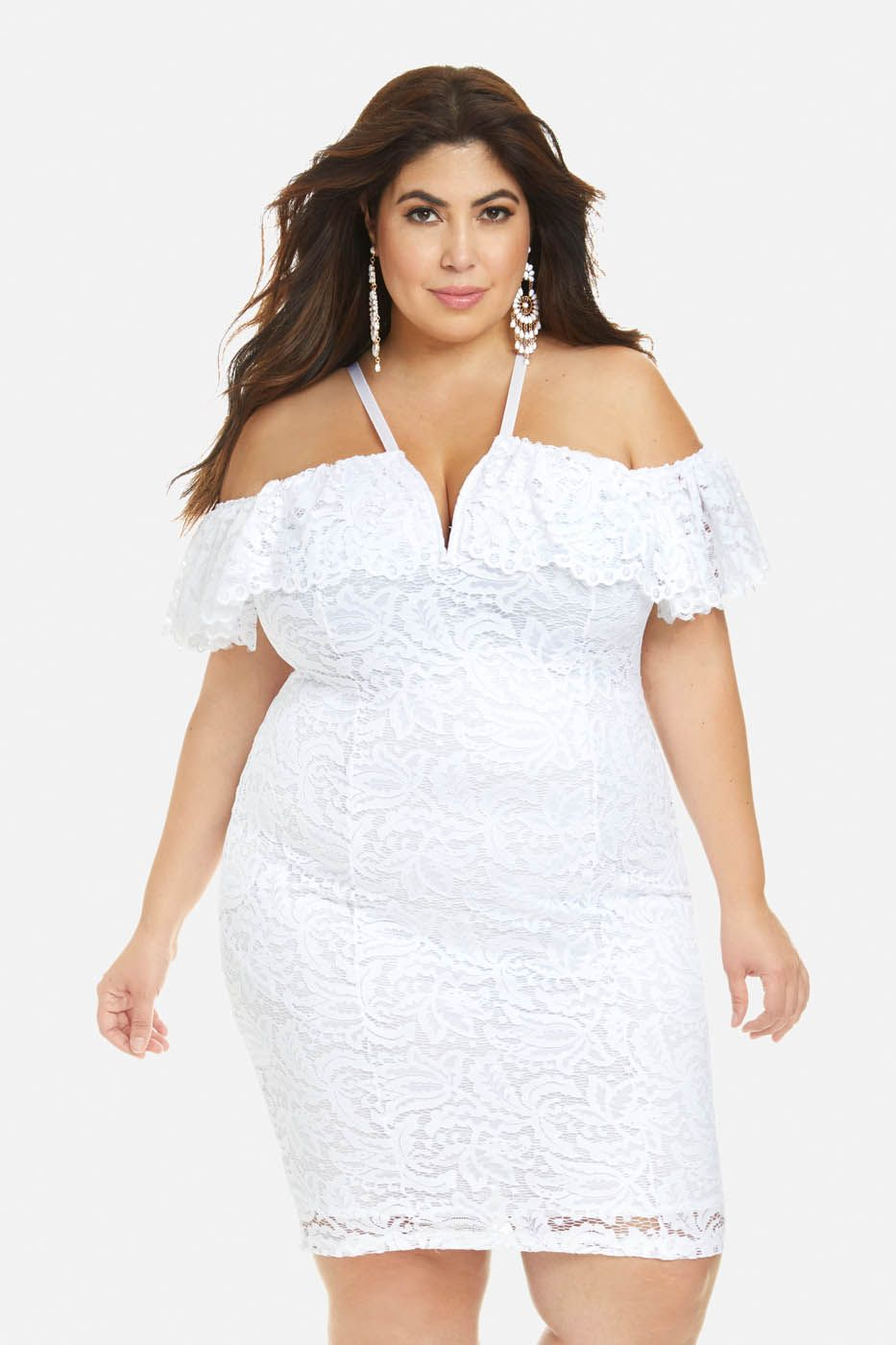 Plus Size Lilianna Off Shoulder Lace Bodycon Dress Girls