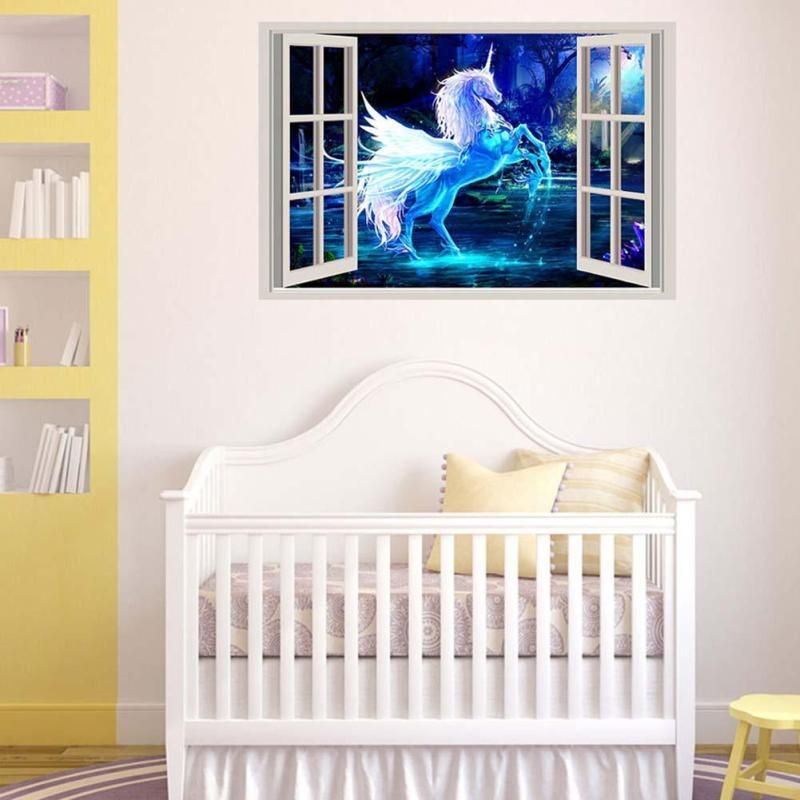 Unicorn 3D Decoration Unicorn Wall Sticker For Kids Rooms Living Room  Bedroom Wall Decal Art