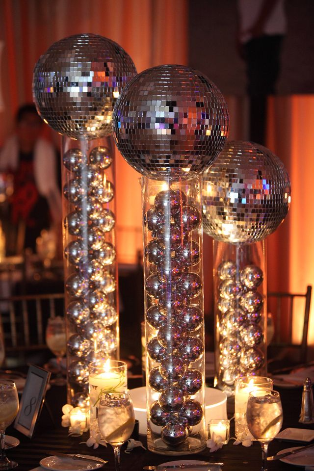 Groove up your party with some disco ball centerpieces to get your