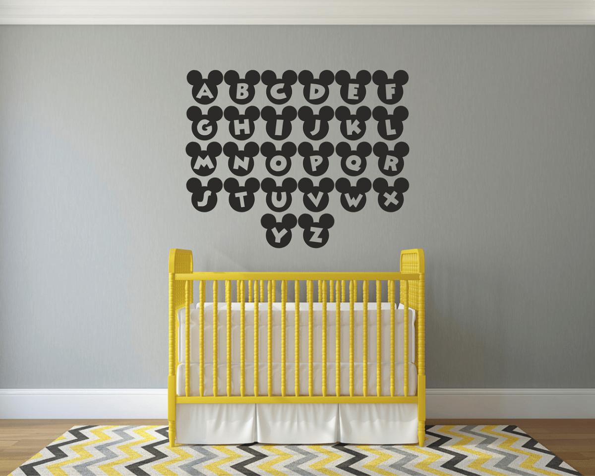 Mickey Mouse Alphabets Wall Art Decal Sticker   Wall/ Tile Art Vinyl ...
