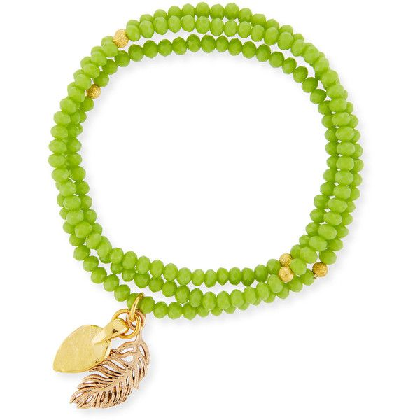 Elise M. Isadora Glass Beaded Stretch Bracelet ($27) ❤ liked on Polyvore featuring jewelry, bracelets, lime, lime green jewelry, stretch jewelry, beading charms, beaded bangles and glass bead charms