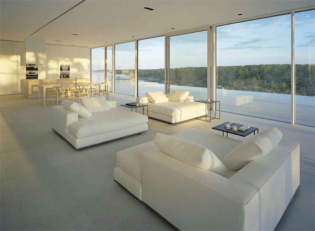 Open Plan House white sofas, dining, kitchen, open plan, stunning lake house in