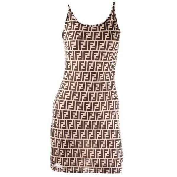 70c0da2281 Preowned Fendi Monogram Print Dress ($285) ❤ liked on Polyvore featuring  dresses, day dresses, multiple, fendi, brown dress, pattern dress, brown  print ...