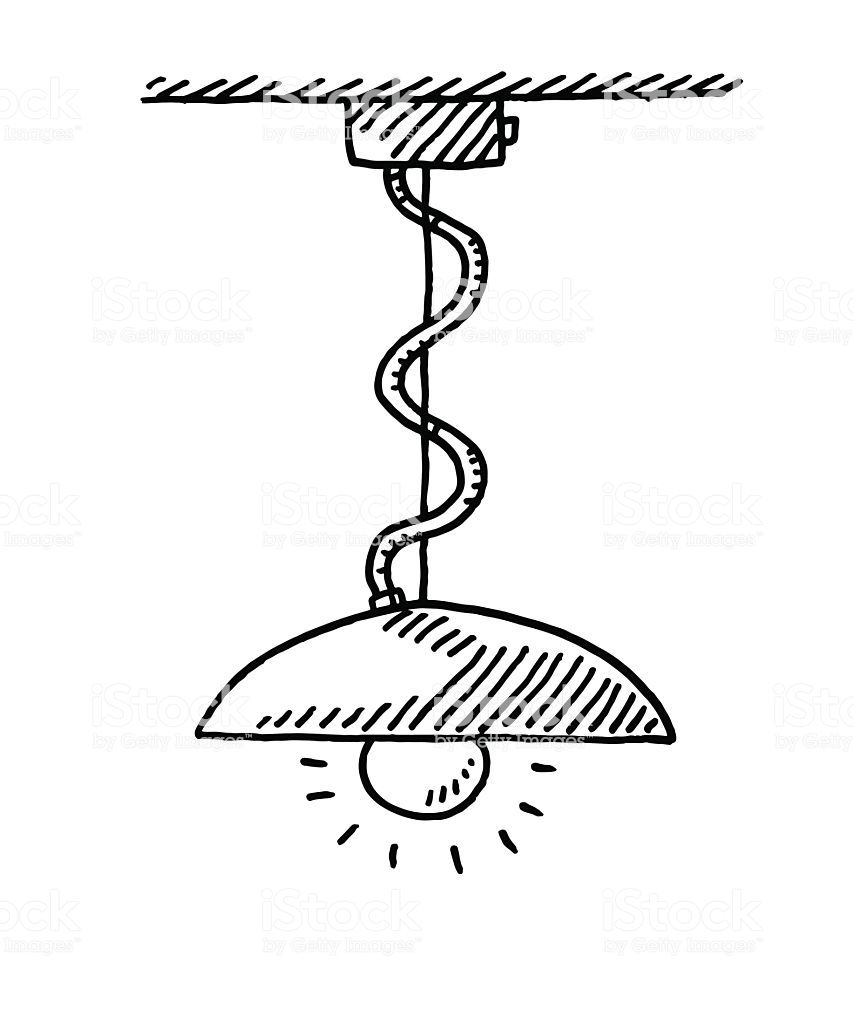Hand Drawn Vector Drawing Of An Illuminated Ceiling Lamp Drawings Free Vector Art Vector Drawing