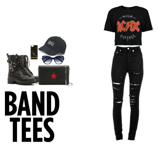 """""""Going with the band"""" by janel2005 ❤ liked on Polyvore featuring Yves Saint Laurent, RED Valentino, Givenchy, Richmond & Finch, La Perla and SO"""