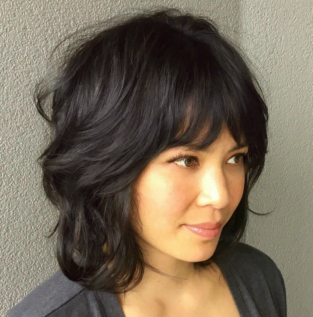 Black Shag With Feathered Bangs Modern Shag Haircut Short Shag Haircuts Medium Shag Haircuts