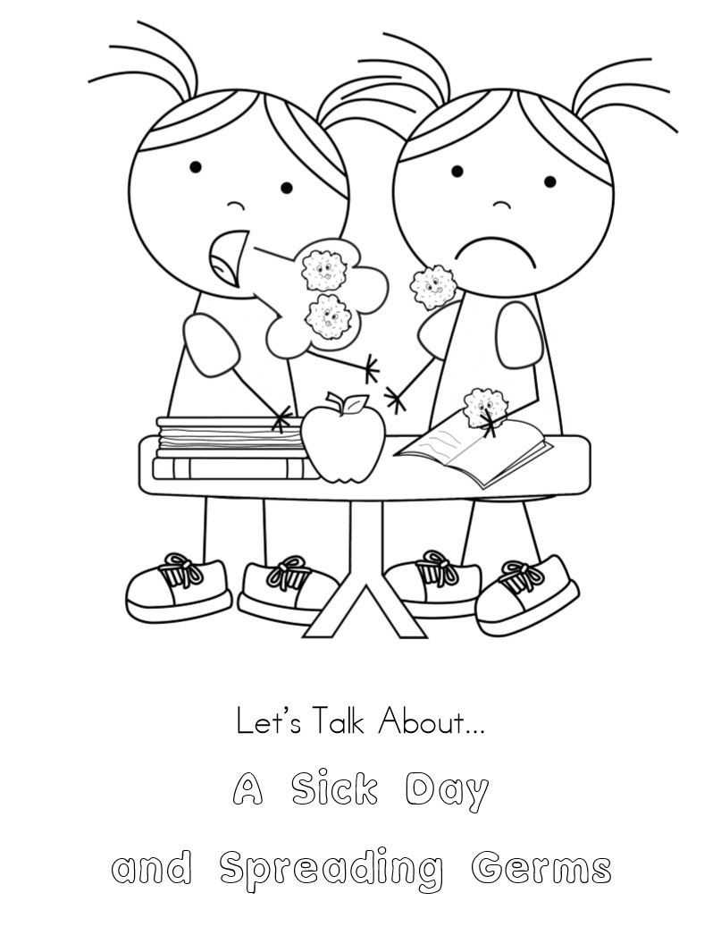 No More Spreading Germs Coloring Pages For Kids Germs For Kids