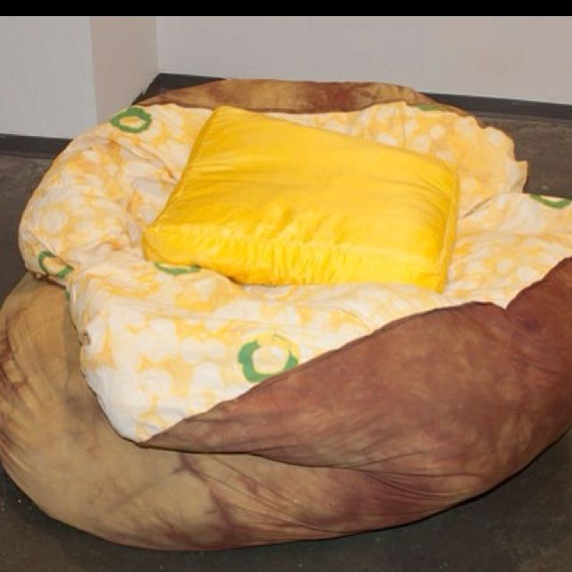Baked Potato Beanbag Chair Along With A Hamburger Bed Bacon Rug