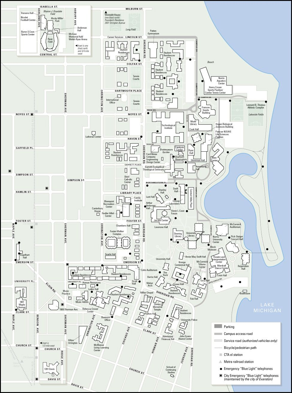 Northwestern University Evanston Campus Map.Campus Map For Northwestern University Evanston Ar Map