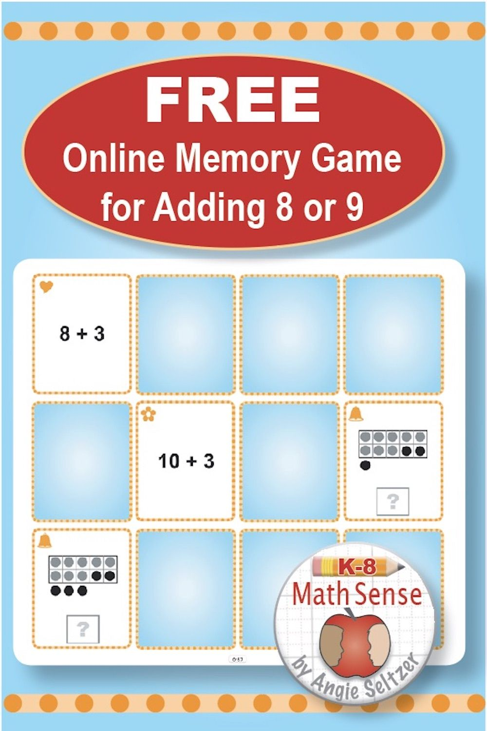 Adding With 8 Or 9 By Making 10 Try A Free Online Matching Game For First Grade Models Will He Online Games For Kids Online Math Games Free Online Math Games Free printable addition squares game