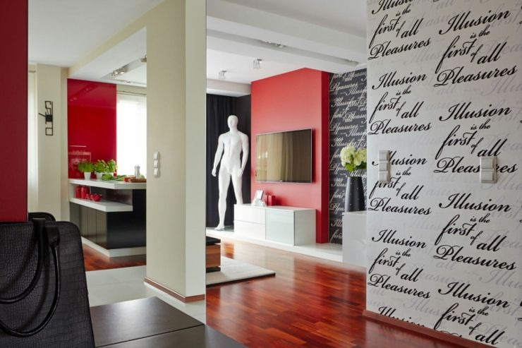D co maison en rouge pour un appartement moderne for Couleur maison interieur tendance