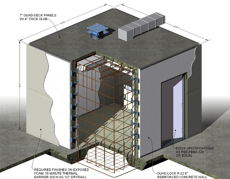 Cement block safe room super safe rooms from global for Hidden storm shelter