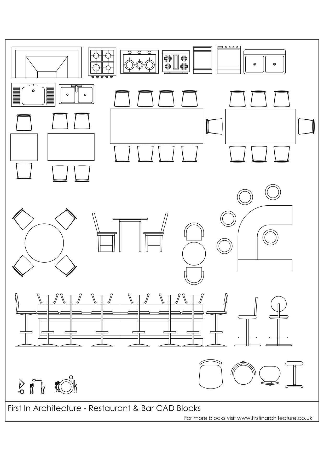 Free cad blocks restaurant and bar d wireframe