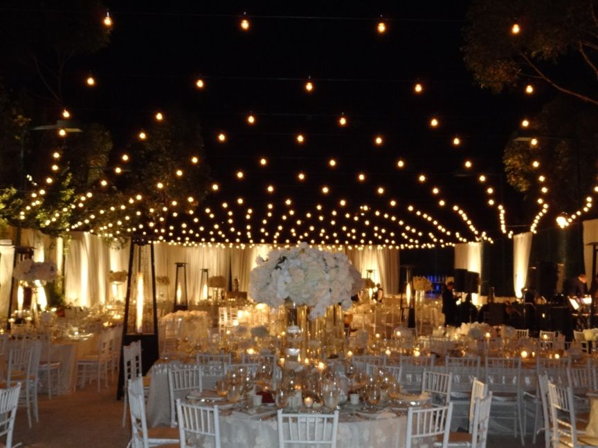Ordinary Tennis Court Transformed With Italian String Lighting For A