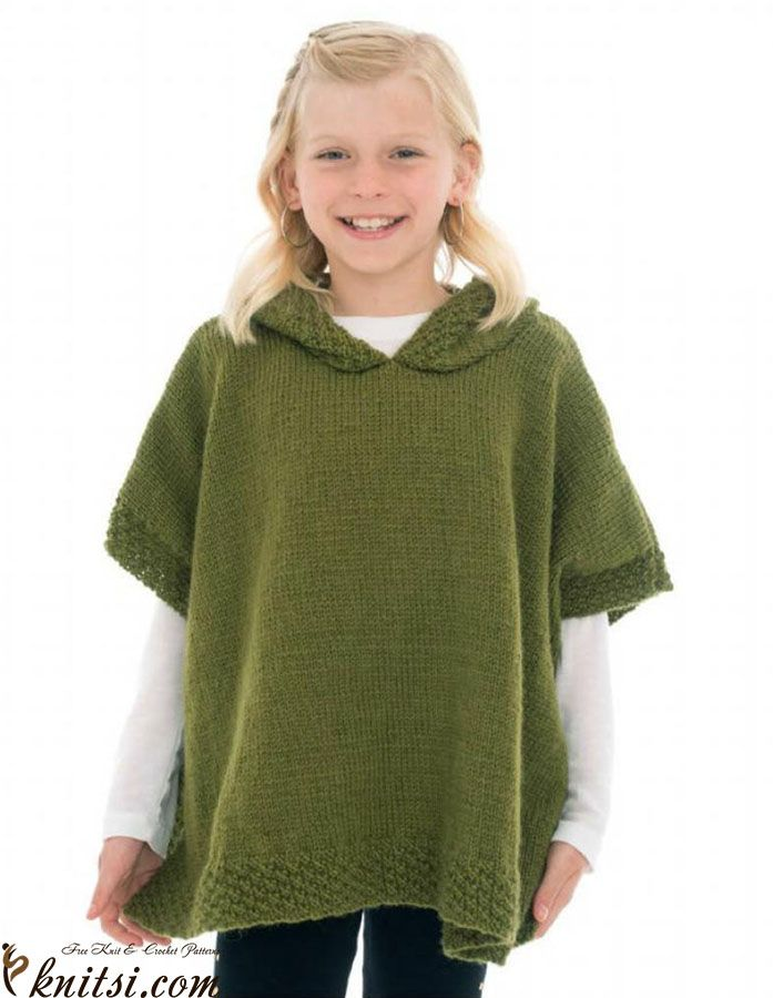 Girl Hoodid Poncho Knitting Pattern Knitting Pinterest
