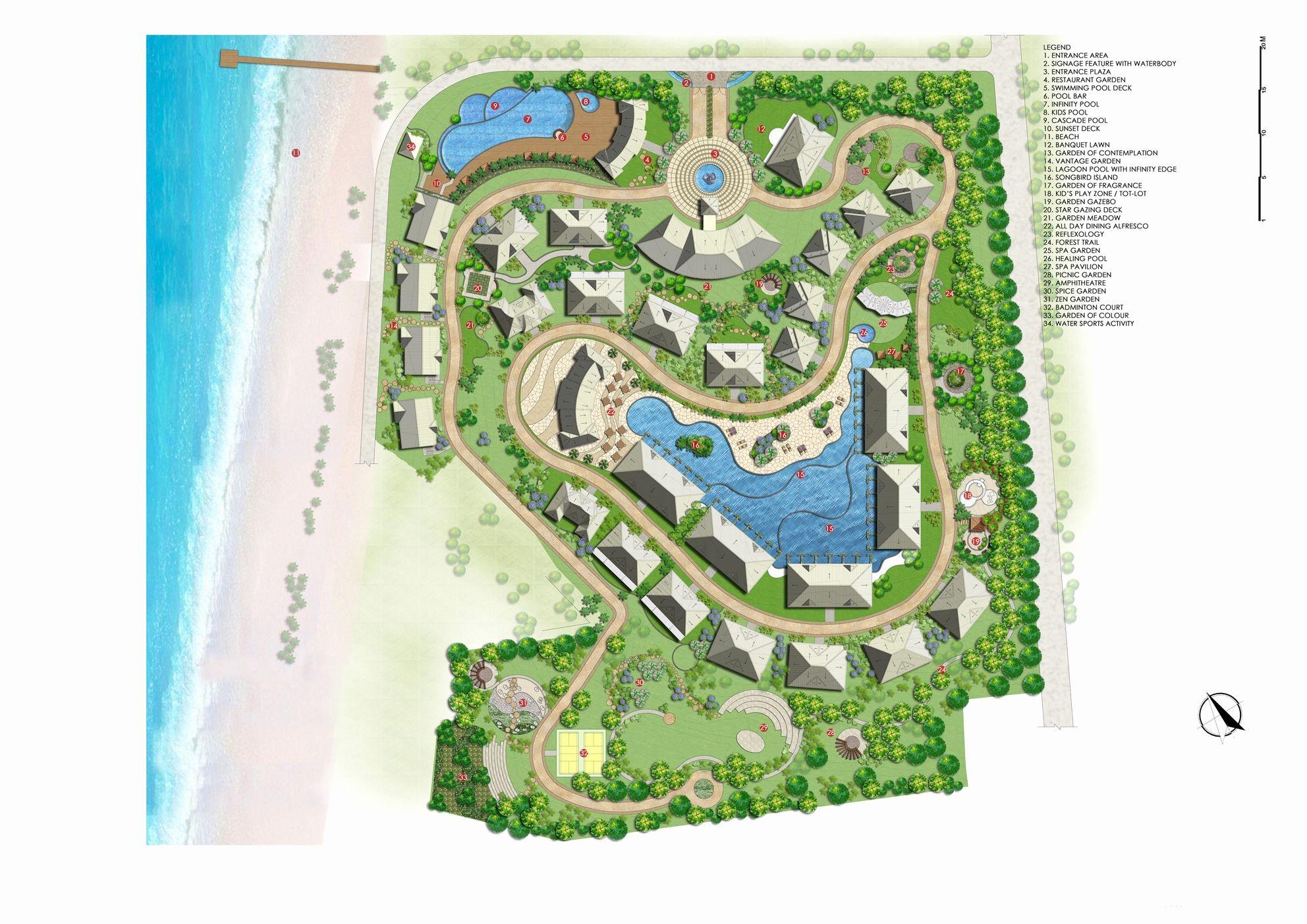 Landscape Features Luxury Site Plan Landscape Features Silver Beach Resort And Landscape Resort Design Beach Resort Design Site Plan
