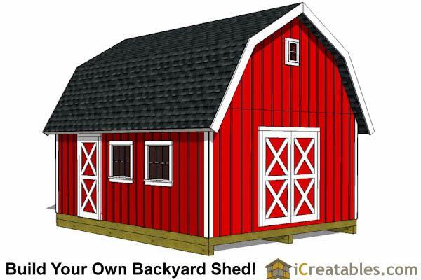 16x20 Gambrel Shed Plans 12x16 Barn Shed Plans Diy Shed Plans Shed Plans 12x16 Shed Plans