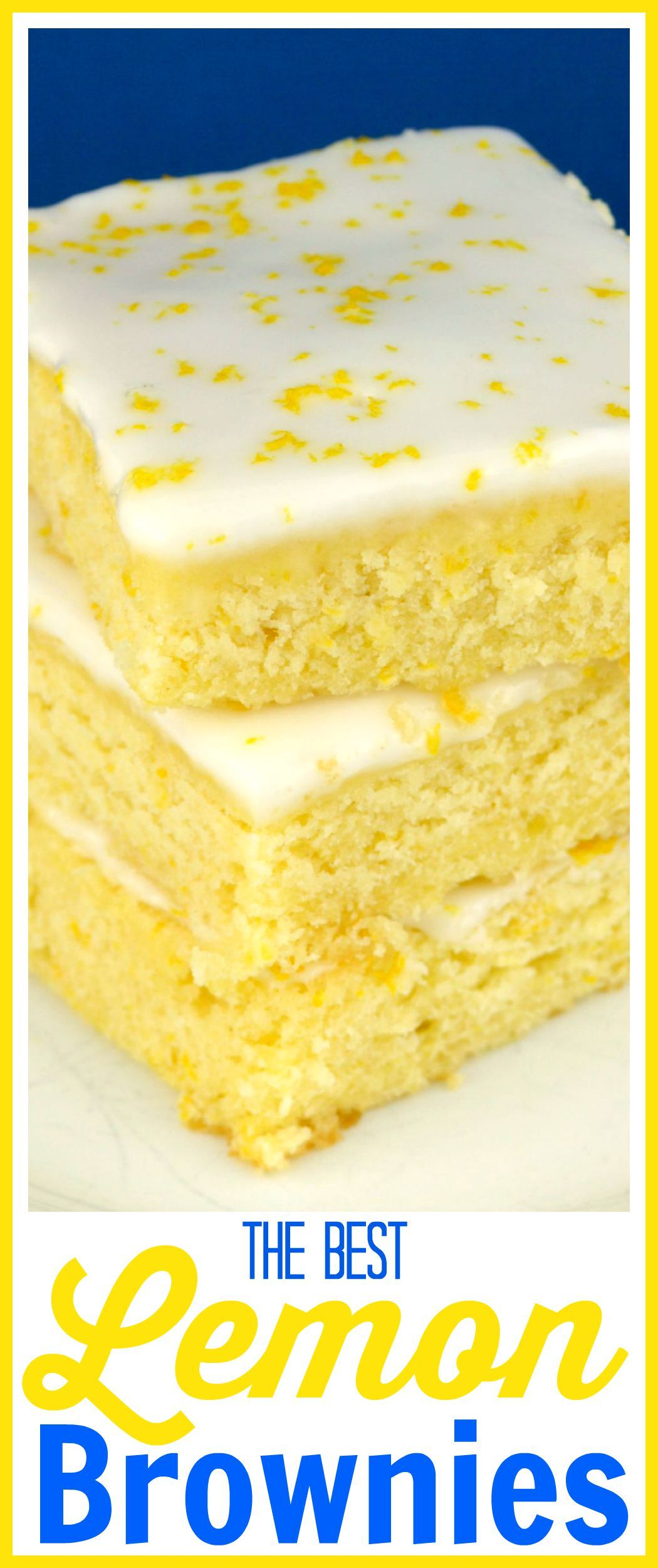 These are the best Lemon Brownies I've ever had! They're loaded with tons of fresh lemon juice and lemon zest, then topped with the perfect thick, lemon glaze.They're fudgy bites of lemon deliciousness! I've tried other recipes and have to say this one totally rocks!