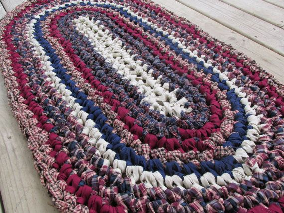 Mount Vernon Rug Crochet Rag Rug Oval Medium Cotton Washable Soft Handmade Bathmat Kitchen Porch Rustic Country Primit Crochet Rag Rug Rug Pattern Easy Crochet