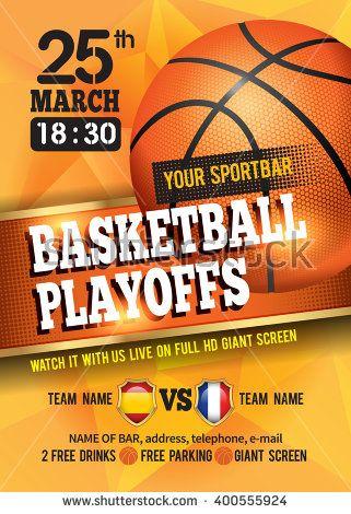 Basketball Poster With Basketball Ball Basketball Playoff