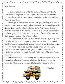 End of the Year Parent Letter | First Grade   May | Letter to