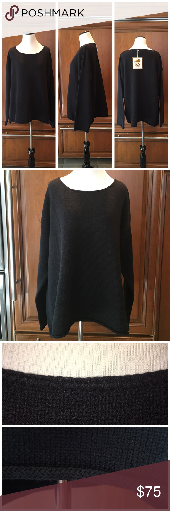 Wildfox Sweater Gold Label jet black oversized 60% cotton 40% acrylic knit sweater.  Heavy in weight and perfect for a cool summer night.  It's a great sweater that can be worn all year long.  It has a stitched crew neck and little rolled bottom and sleeves.  ❤️❤️ NO TRADES NO PYPL WILL NOT DISCUSS PRICE IN COMMENTS Wildfox Sweaters Crew & Scoop Necks