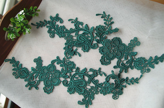 green lace applique by pairs, venice lace applique