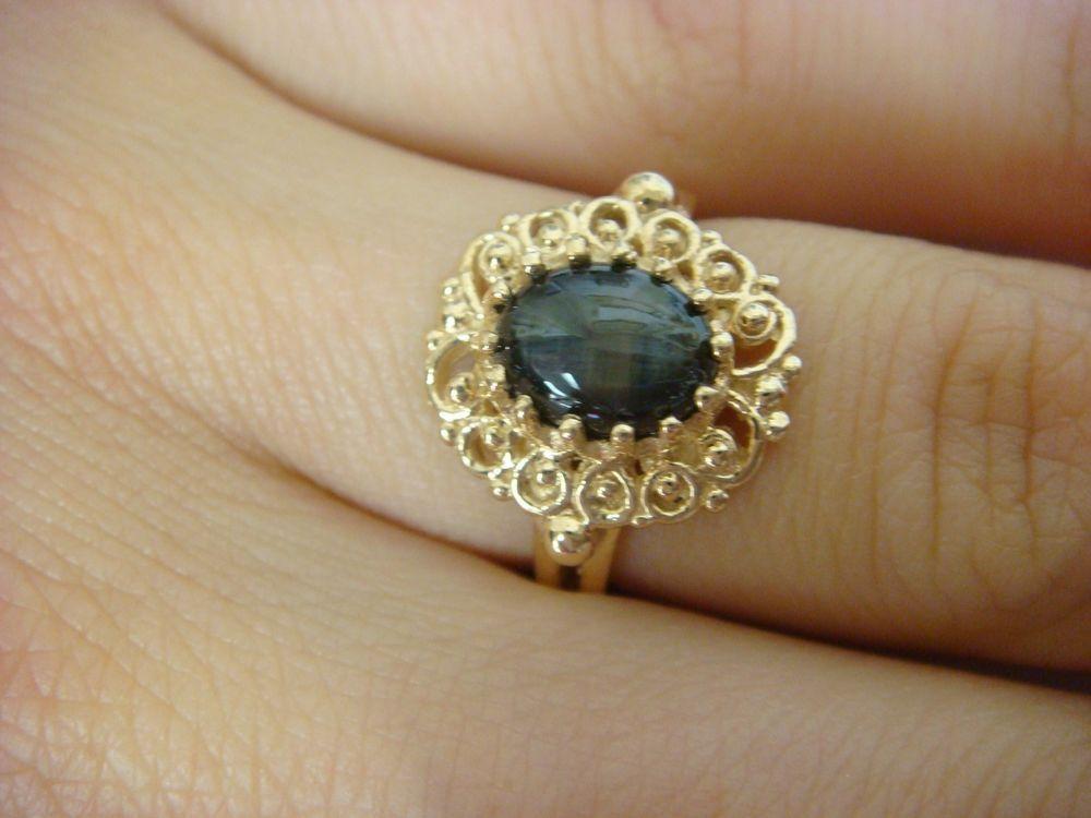 Vintage 14k Gold Black Star Sapphire Filigree Ladies Ring 3 6 Grams Size 5 25 Women Rings Star Sapphire Rings