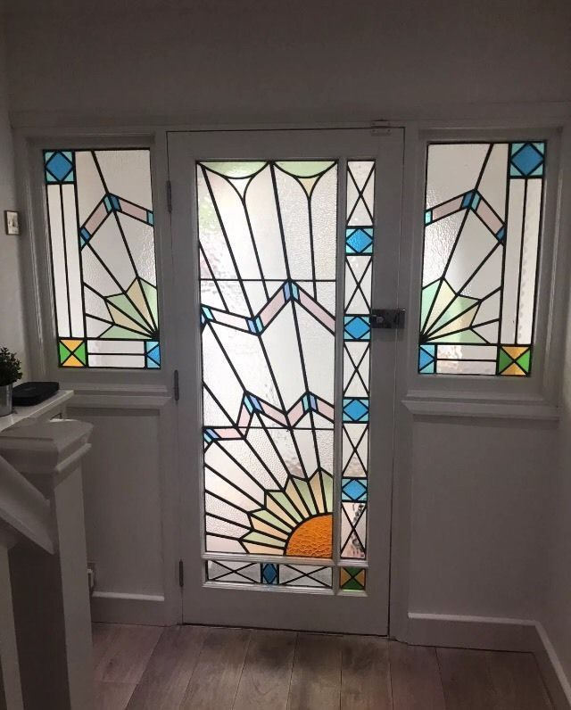 Amazing Colourful 1930s Art Deco Stained Glass Vintage Front Porch Side Windows Stained Glass Door Stained Glass Glass Art Products