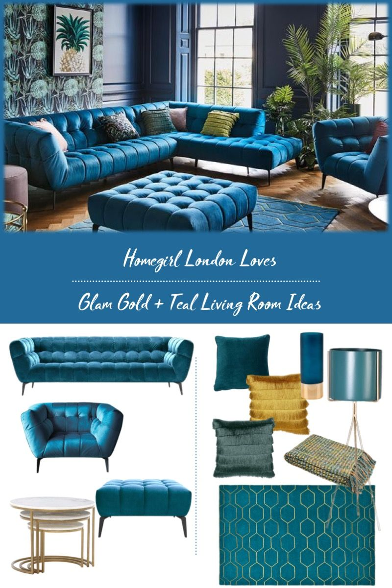 Glam Gold And Teal Living Room Ideas With Images Teal Living
