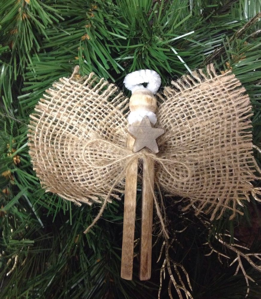 Set Of 5 Vintage Burlap Ornaments Clothespin Nativity Angel Christmas Tree Burlap Christmas Decorations Burlap Ornaments Christmas Clothespins