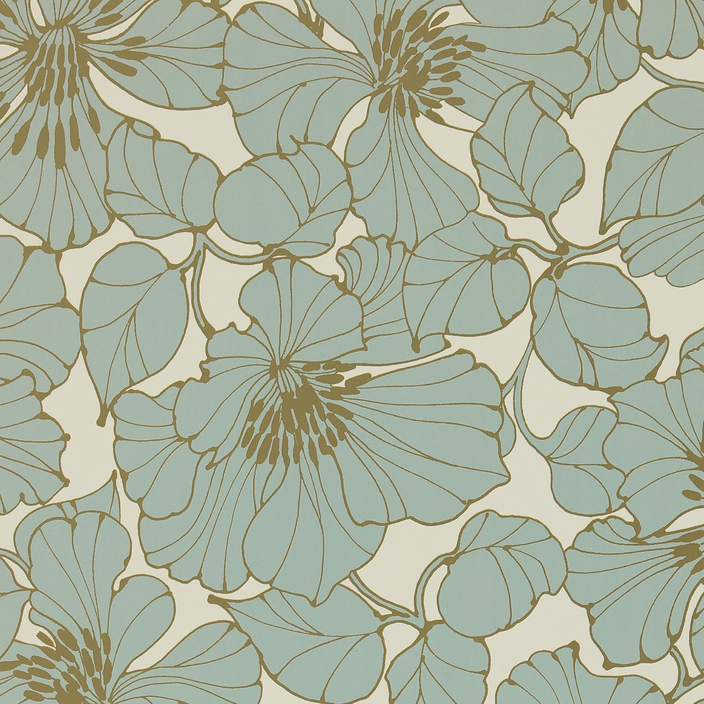 Passion wallpaper in Duckegg blue and gold Harlequin