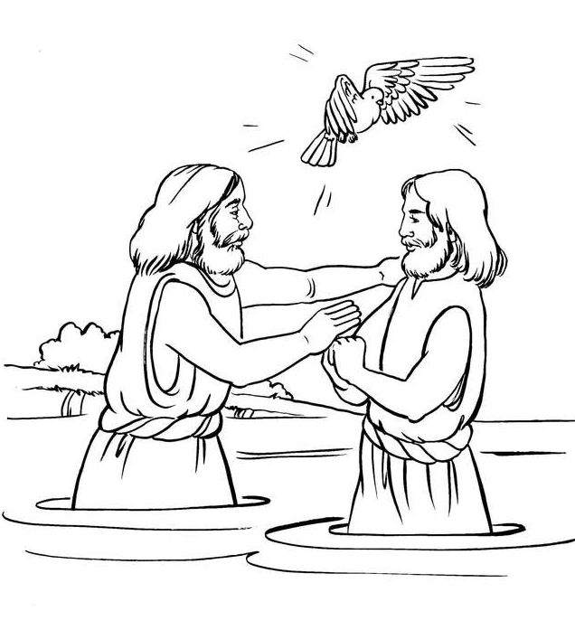 Jesus 39 baptism Coloring Bible