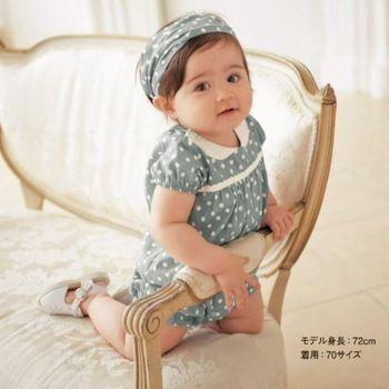 Baby romper/ Girl's blue romper with white dot/ Children sportswear headpiece + teddy