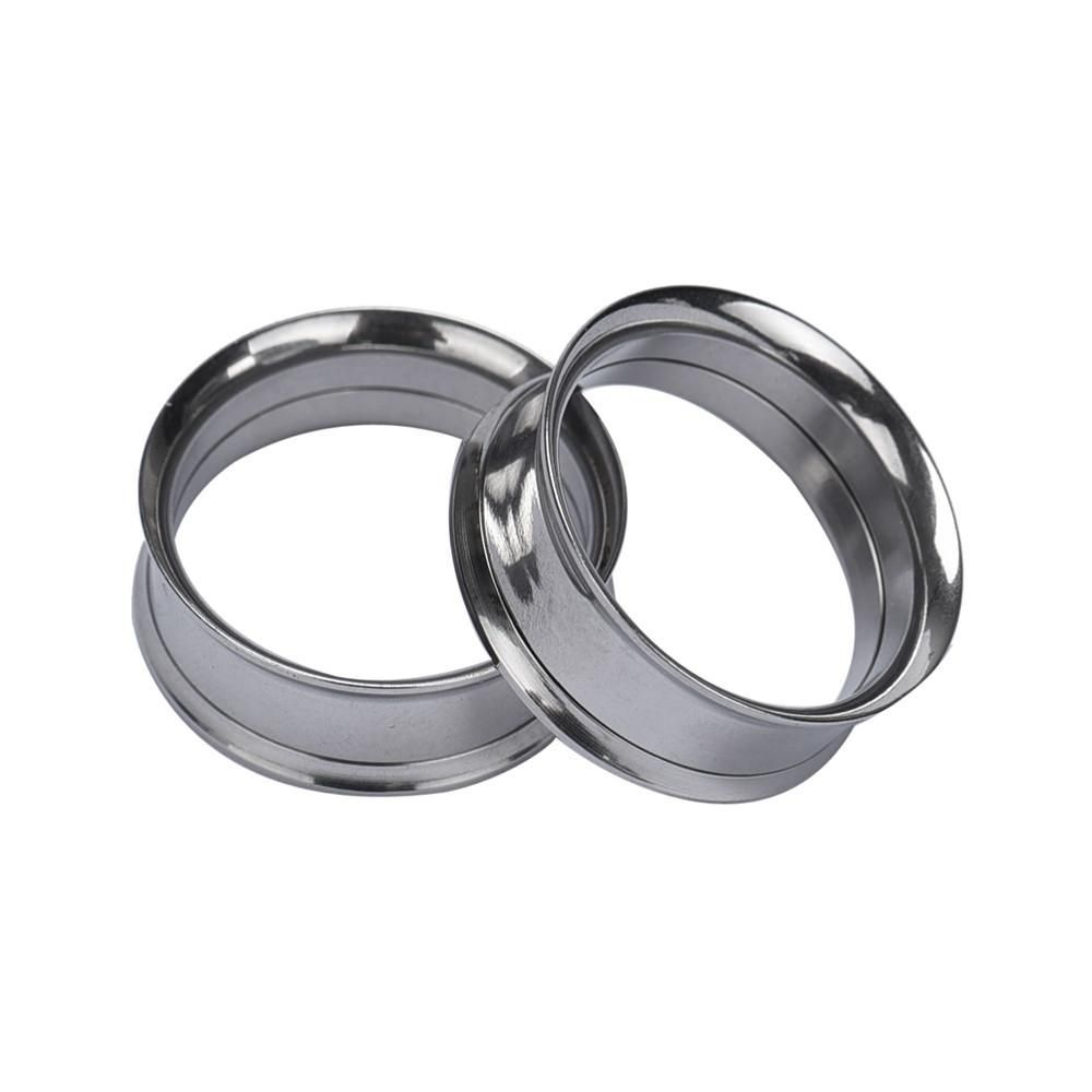 Pair Screw Titanium Stainless Steel Black Flesh Ear Tunnels Plugs Gauges Earring