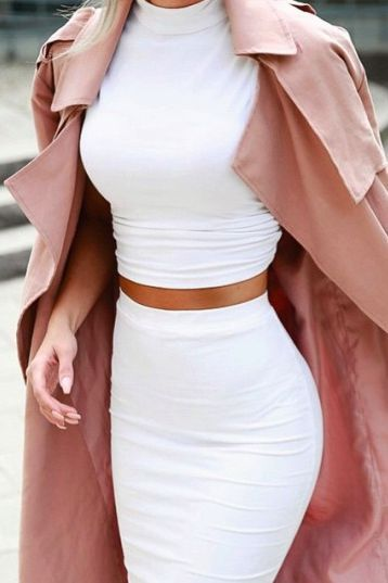 white halter/ turtleneck top with white pencil skirt and blush pink trench structured coat fall or winter date outfit fashion
