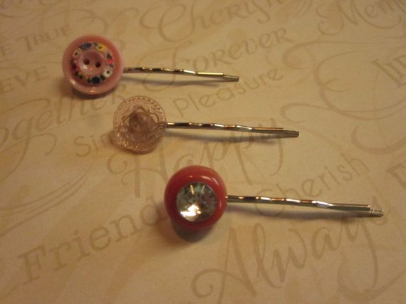 Sweet Spring Vintage Button Hairpins Set of by HairPINACHEbyTerry, $9.00