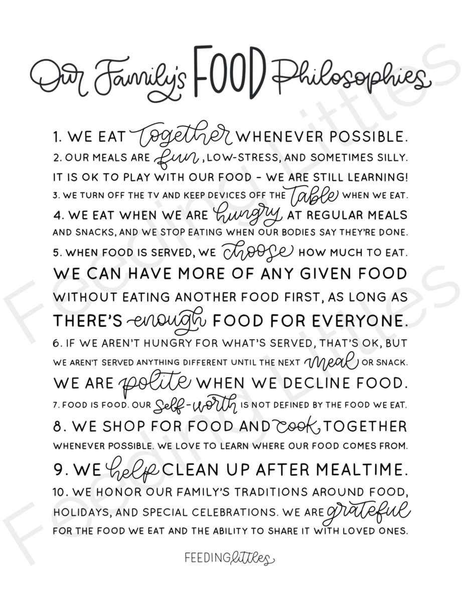 Our Family's Food Philosophies  Downloadable is part of Feeding Littles - Display the Feeding Littles philosophies about food, mealtime and eating disorderprevention in a beautiful print format perfect for your kitchen or dining space   This is an instant download, highresolution file  You will not receive a physical print  You will receive a  jpeg file for 8x10 inch prints  For an inexpensive professional printing option, head to your local office supply store copy and print center to print the file on semigloss card stock or photo paper  The file is for an 8x10 inch size, but a print center can help you resize to a larger print   Need a canvas or art print of this file  We love print services at Costco and Shutterfly  Please email us (megan@feedinglittles com) if you need the  png file format  This downloadable print is for personal use only and may not be sold, replicated, or commercially used  The water mark is removed on the purchased file  ALL DOWNLOADABLE FILE SALES ARE FINAL   Graphic created by Wildflowers for Mochas