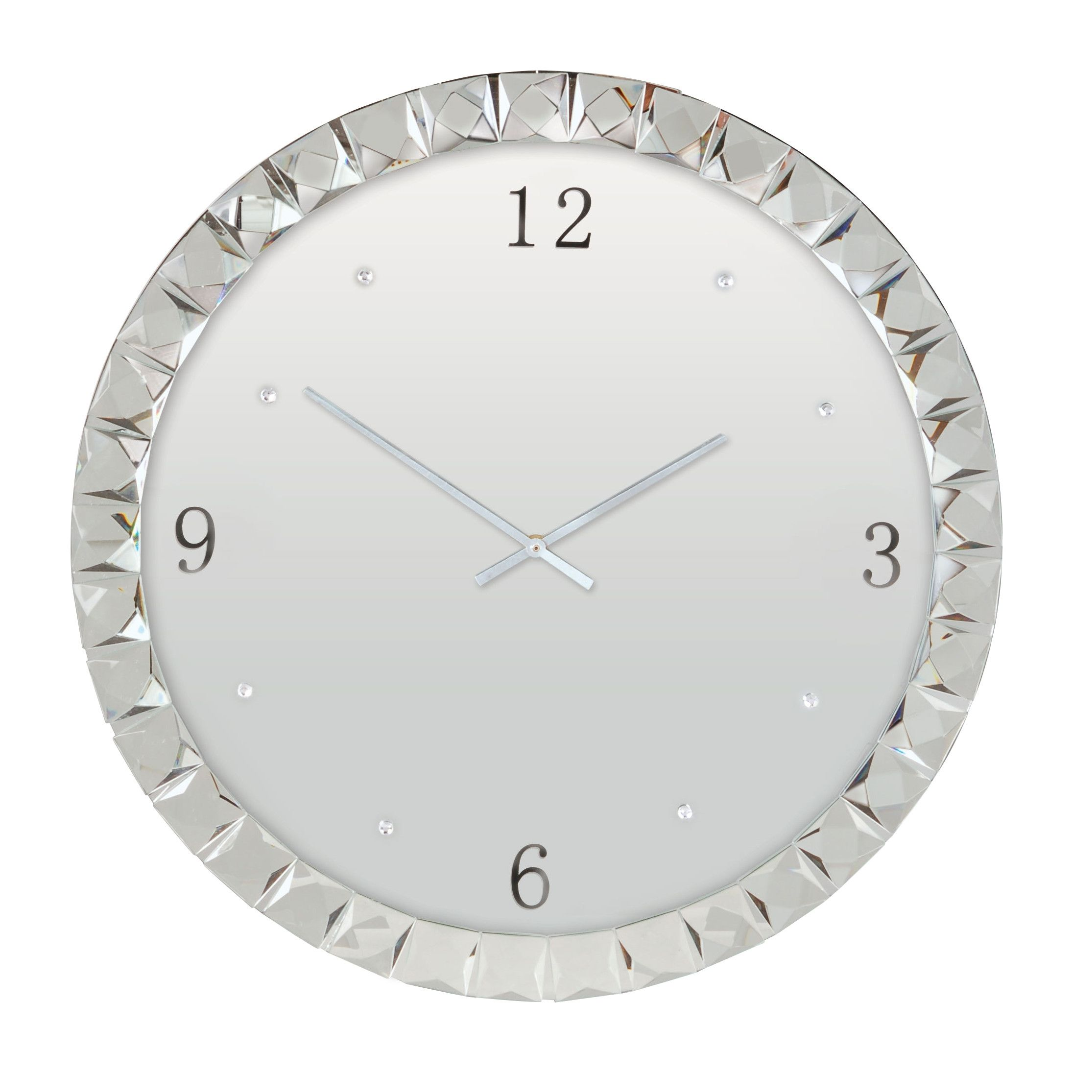 Wall Clock Index Mirror Silver Glass | http://drrw.us | Pinterest ...