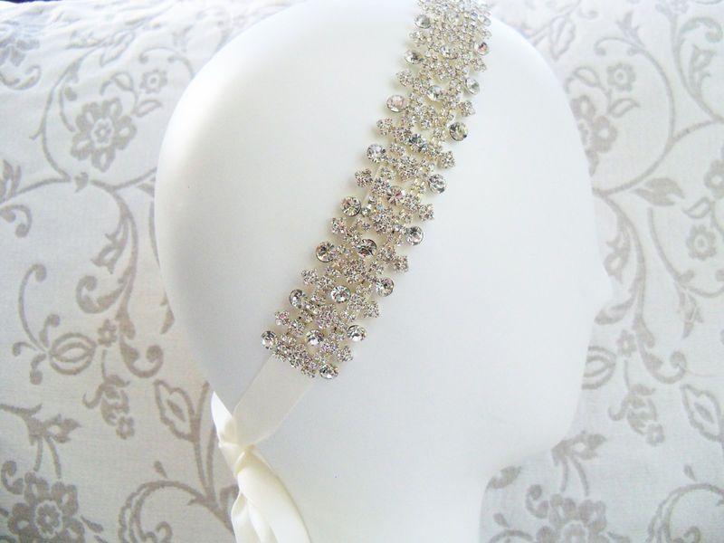 Rhinestones Beaded Bridal Headband Wedding Accessories Headpiece Head Piece Rhinestone Bridal Headband - Ivy