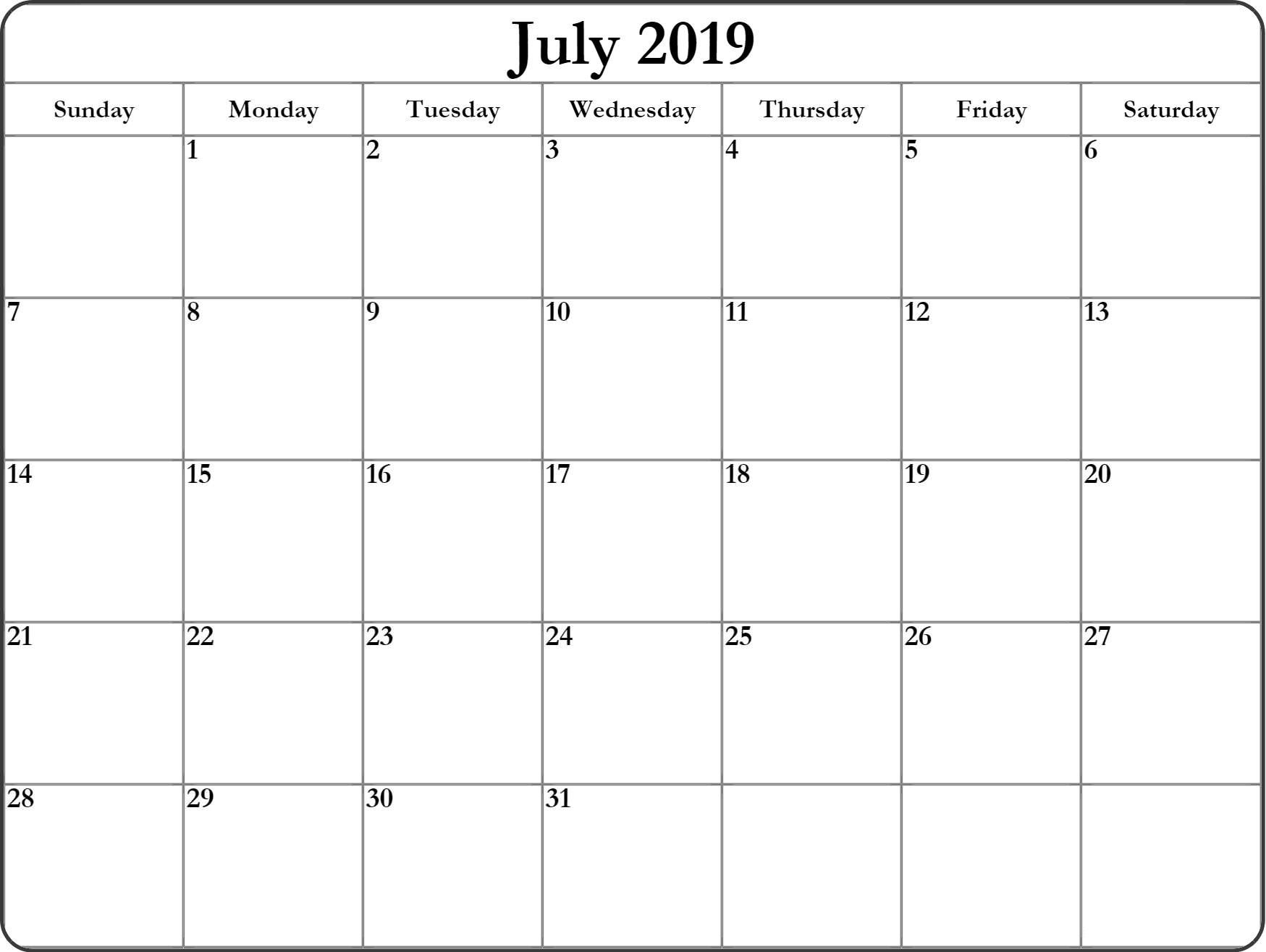 Free July Calendar 2019 For Editable Template Free Printable