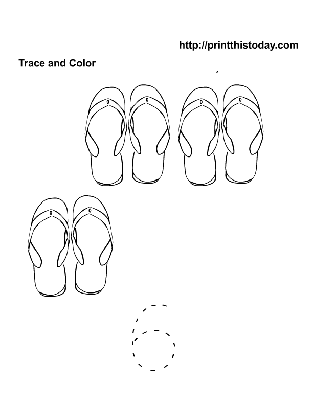 6 Cute Flip Flops Trace And Color Number