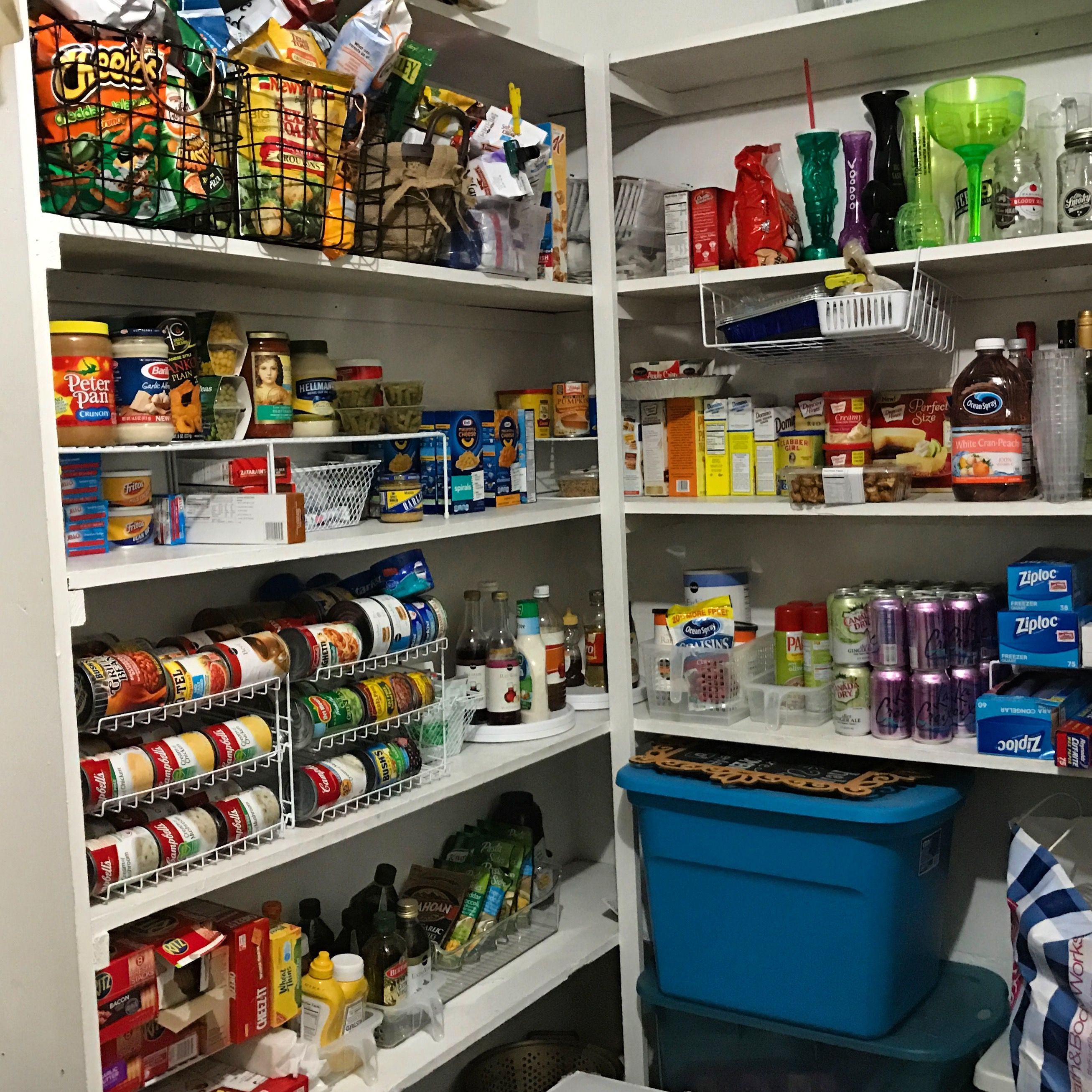 Pantry Organization We Used Can Racks From Walmart And Bins And