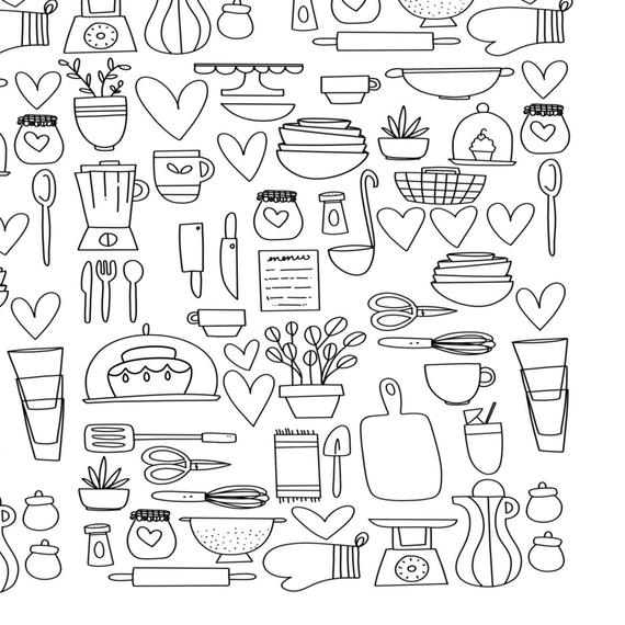 Kitchen Baking Appliances Coloring Page Digital Printable Etsy Hand Doodles Coloring Pages How To Draw Hands