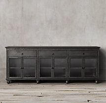 """RH ANNECY METAL-WRAPPED GLASS LARGE SIDEBOARD 78"""" or 91"""" wide $2,246 or $2,471"""