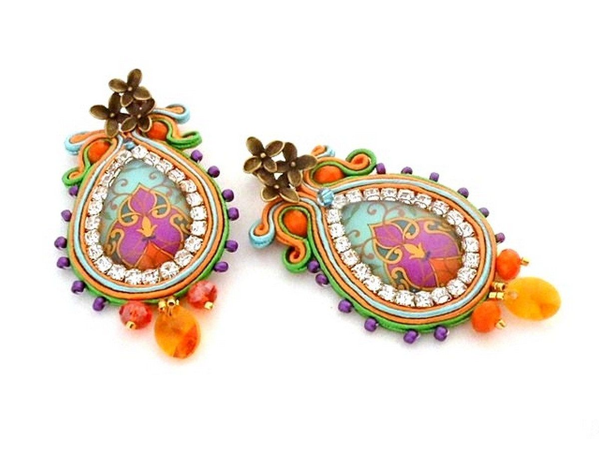 Bead embroidered orange green earrings statement chandelier teardrop colorful chandelier earrings sparkling bead embroidered long clip on earring soutache statement crystal new years eve earrings arubaitofo Images