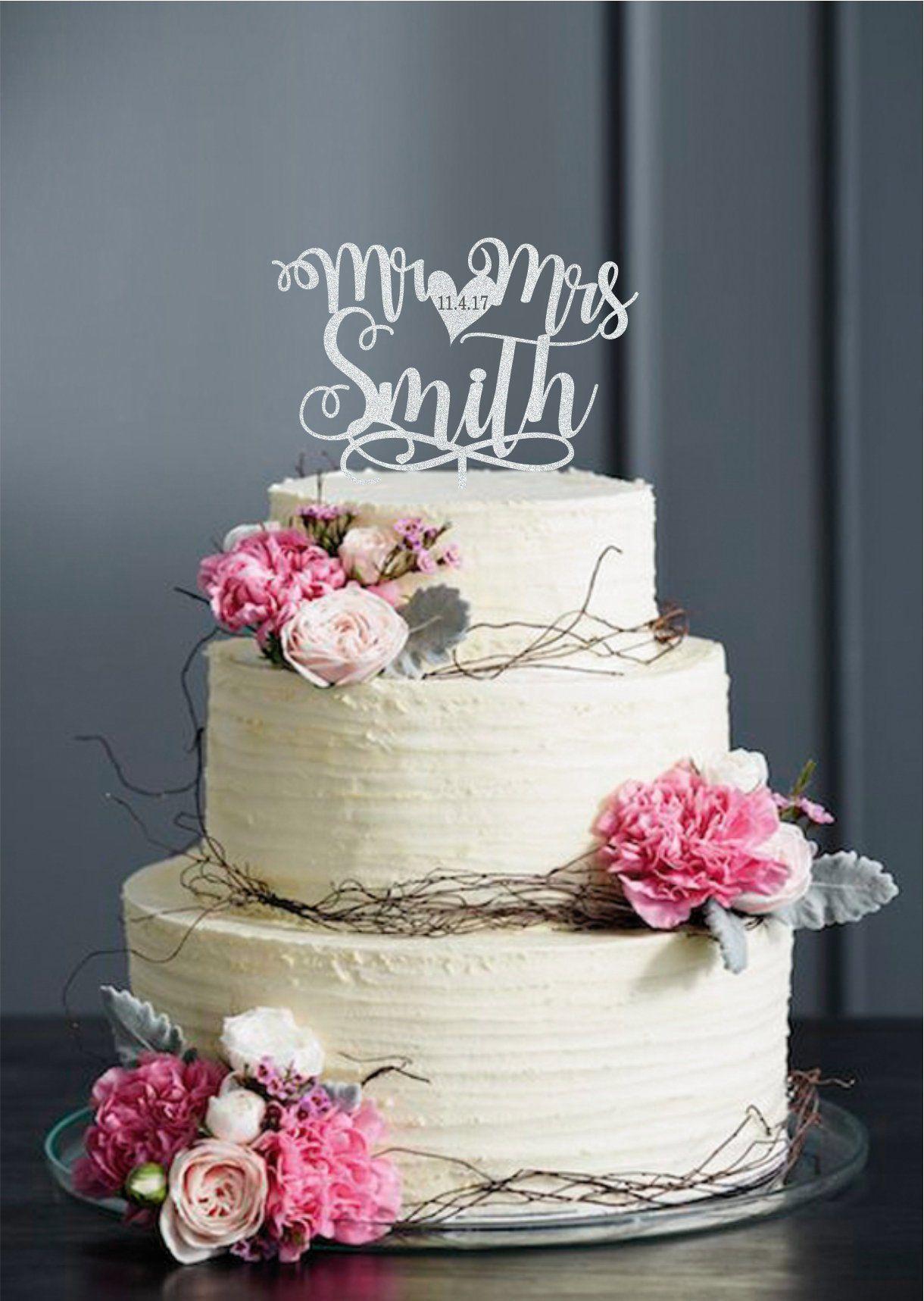 Custom calligraphy mr and mrs wedding cake topper mr mrs