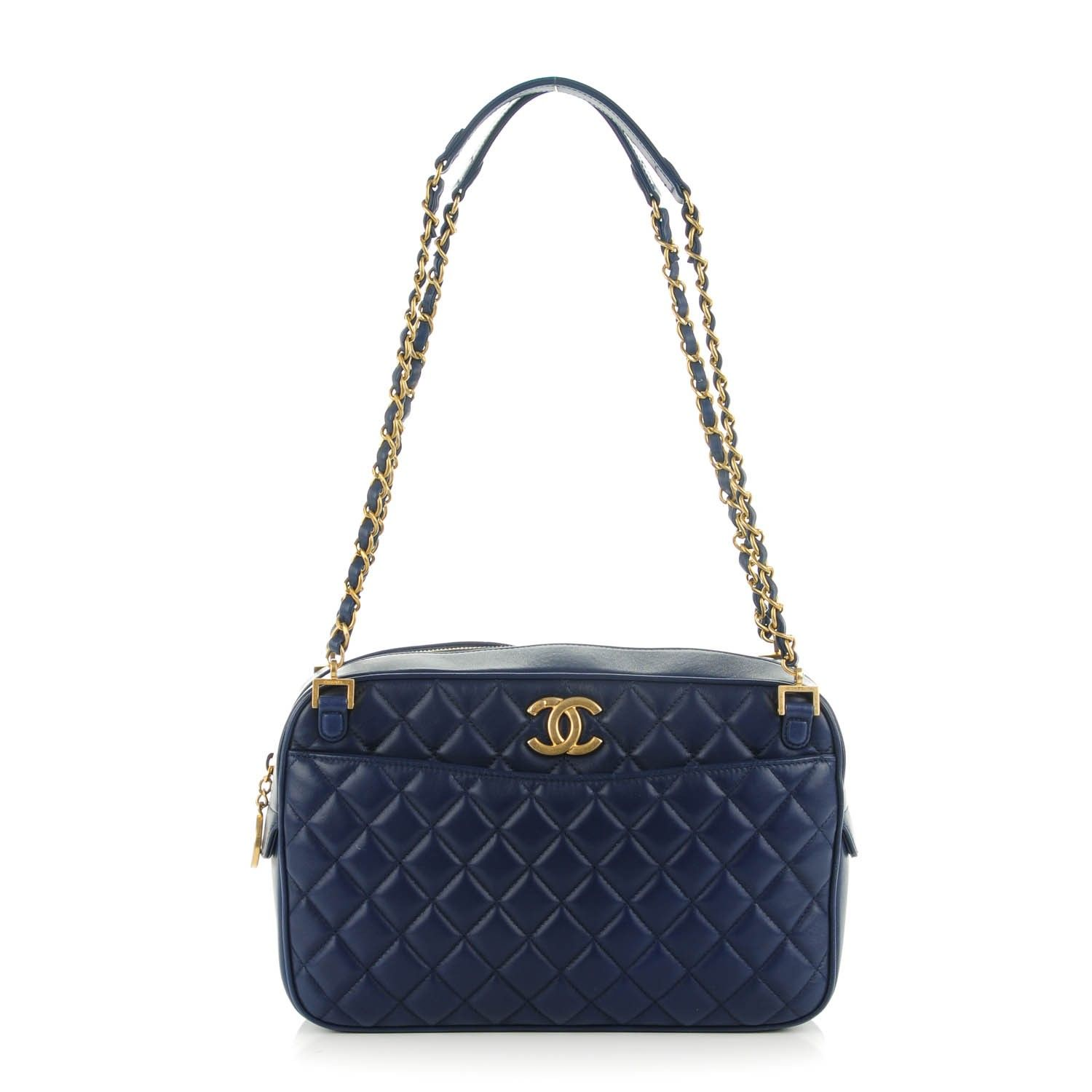 4da6926f17c8 This is an authentic CHANEL Lambskin Quilted Large CC Crown Camera Case in  Blue. The