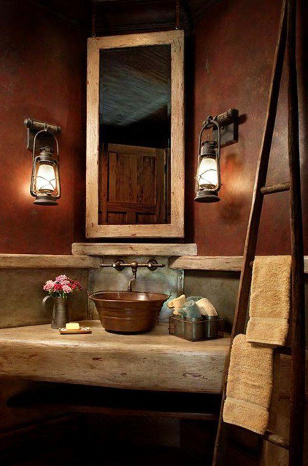 rustikale Badezimmer spiegel waschbecken lampe idee Rustic