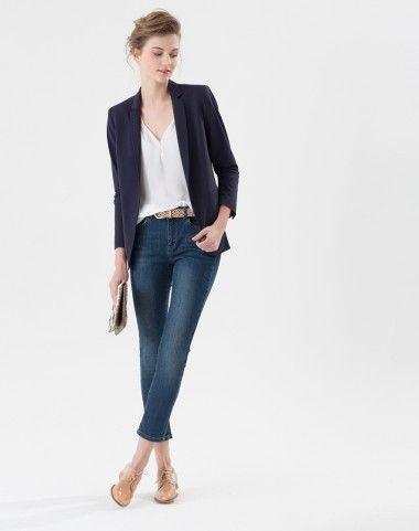 Veste de tailleur bleue avec fines rayures Candice 1 1.2.3   style I ... 514d42d659